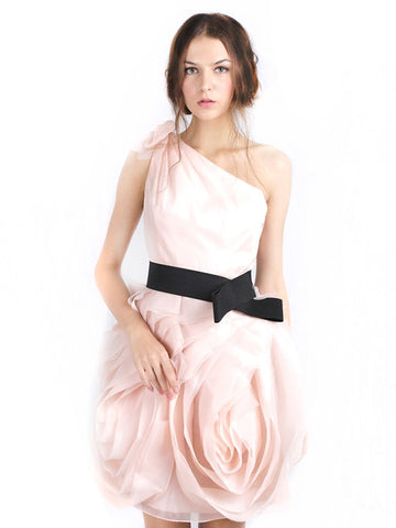 Rent: WHITE by Vera Wang One Shoulder Pink Organza Dress