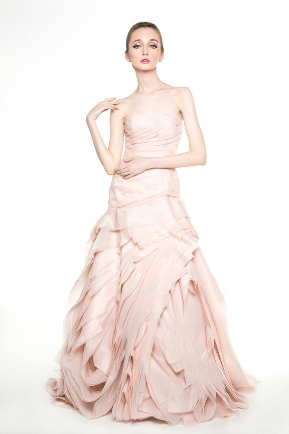 WHITE by Vera Wang - Rent: WHITE by Vera Wang Blush Organza Trumpet Gown-The Dresscodes - 1