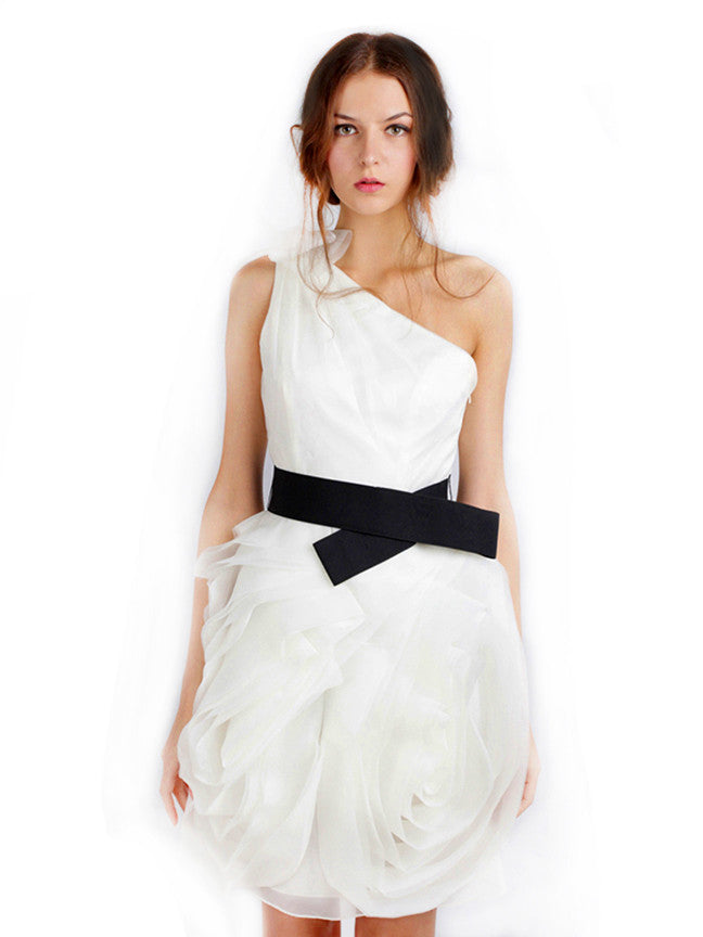 Rent White By Vera Wang One Shoulder White Organza Dress