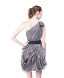 WHITE by Vera Wang - Rent: WHITE by Vera Wang One Shoulder Grey Organza Dress-The Dresscodes - 3