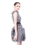 WHITE by Vera Wang - Buy: One Shoulder Grey Organza Dress with Black Belt-The Dresscodes - 2