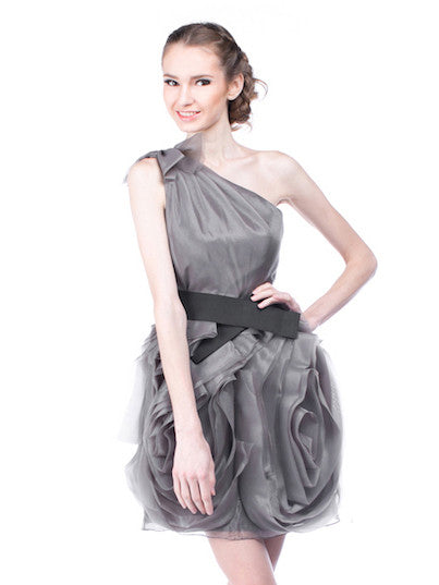 WHITE by Vera Wang - Buy: One Shoulder Grey Organza Dress with Black Belt-The Dresscodes - 1