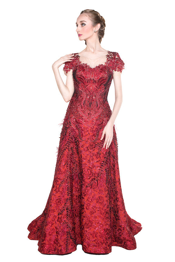 Wiki Wu - Buy: Red Brocade Gown-The Dresscodes - 1