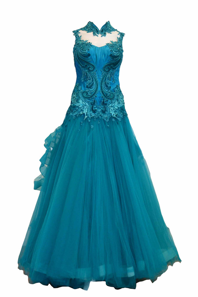 Rent: Wiki Wu -  Green Turquoise Cheongsam Tulle Gown
