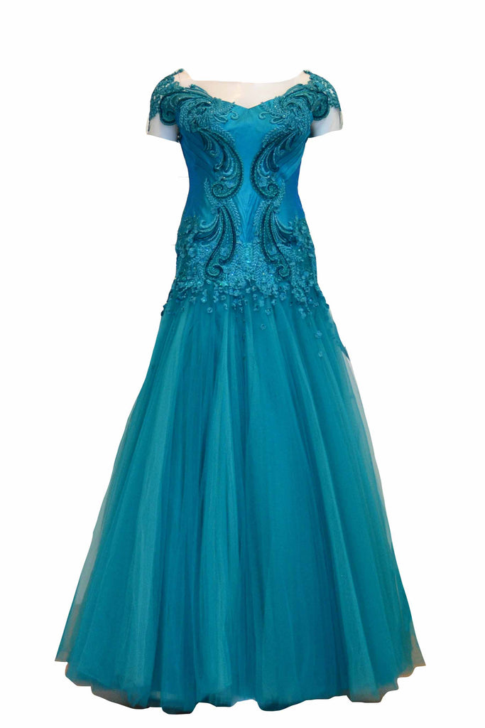 Rent: Wiki Wu -  Short Sleeve and V-Neck Green Turquoise A-Line Gown