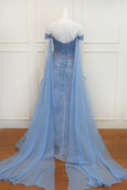 Rent: Winda Halomoan Blue Off The Shoulder Embellished Gown