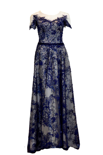 Rent: Winda Halomoan - Short Sleeves Waist Band Embellishment Gown