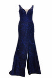Rent: Winda Halomoan - Navy Blue Sleeveless V-neck A-Line Gown