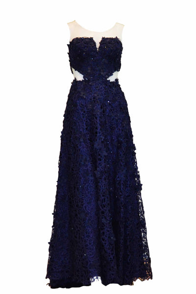 Rent: Winda Halomoan - Navy Blue Cross Sleeveless Full Beaded Gown