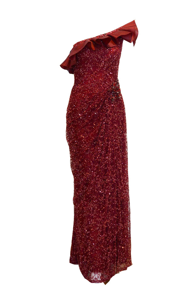 Rent: Winda Halomoan - Red One Shoulder Ruffles Beaded Gown