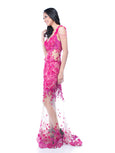 Windy Chandra Couture - Buy: Fuschia Tulle Leg Gown-The Dresscodes - 3