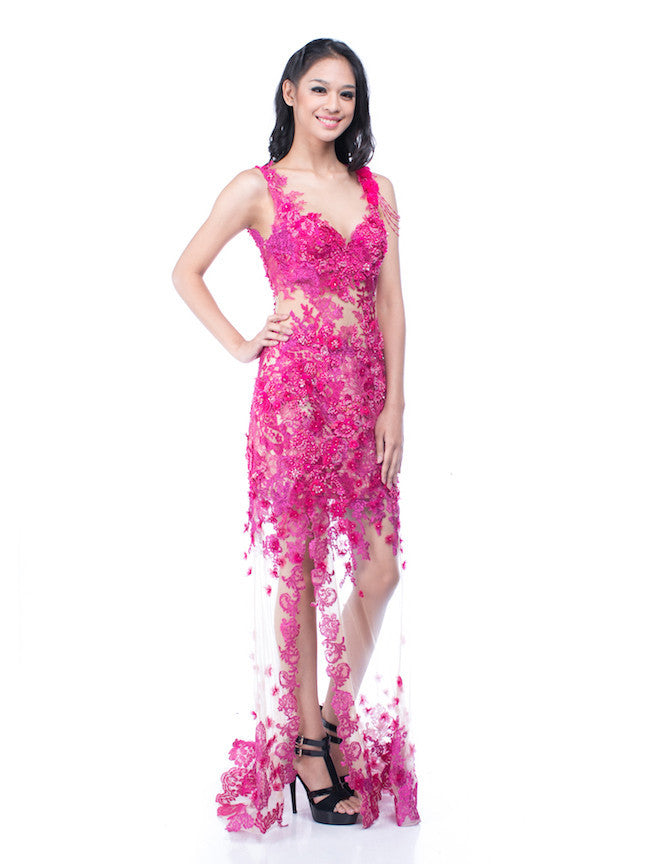 Windy Chandra Couture - Buy: Fuschia Tulle Leg Gown-The Dresscodes - 1