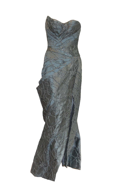 Sale: Windy Chandra Silver Sweetheart Ruffles Gown with Slit