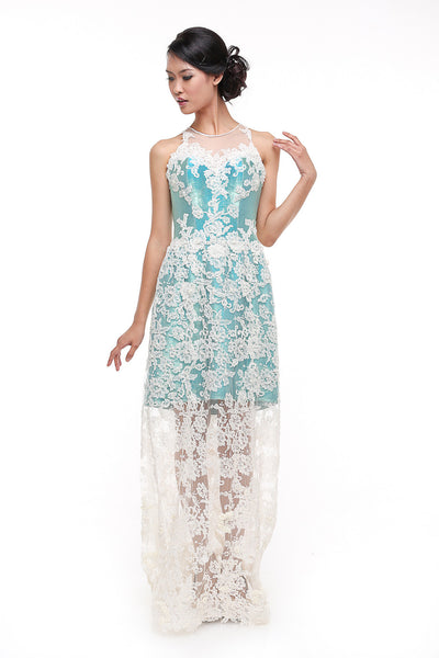 Windy Chandra Couture - Rent: Windy Chandra Metallic Blue & White Lace Long Dress-The Dresscodes - 1