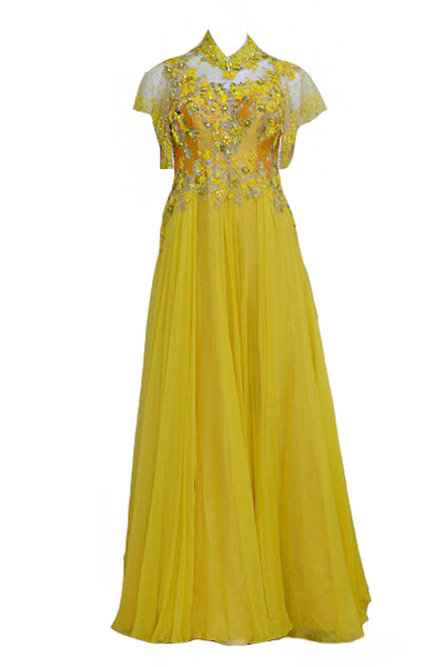 Rent: Yellow Chiffon And Flare Sleeves Cheongsam Gown