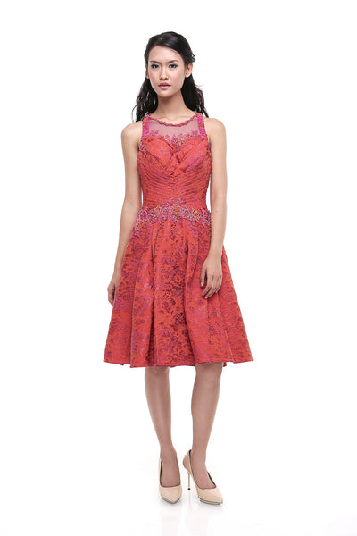 Windy Chandra Couture - Rent: Windy Chandra Orange & Fuschia Pleated Jacquard-The Dresscodes - 1