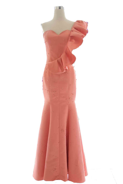 Rent : YCL - Orange Sweetheart Mermaid with Convertible Ruffles