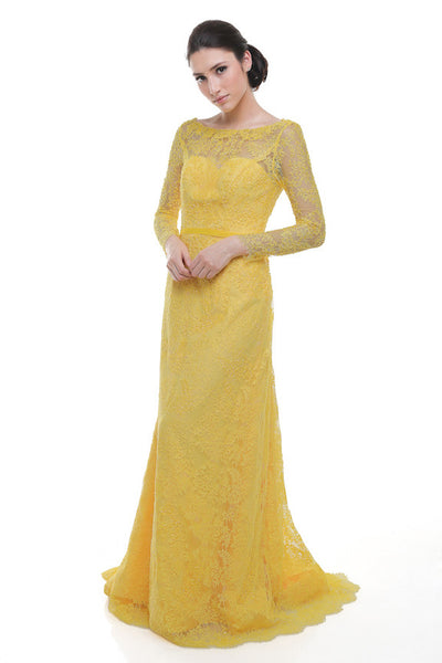 Yefta Gunawan - Buy: Yellow Long Sleeves Lace Long Dress-The Dresscodes - 1
