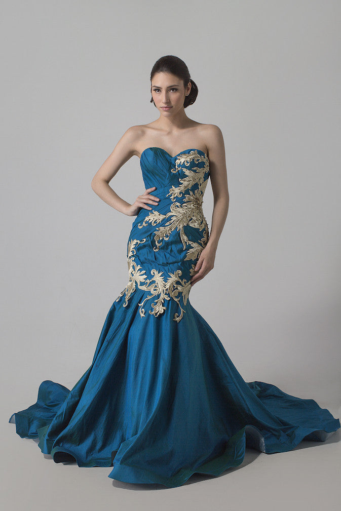 Yofi Hadianto - Buy: Tosca & Golden Embroidered Mermaid Gown-The Dresscodes - 2