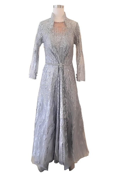 Rent : Yumi Katsura - Silver High Neck A Line Gown