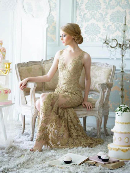 Yefta Gunawan - Rent: Yefta Gunawan Golden Embroidered Leaves Gown-The Dresscodes - 1
