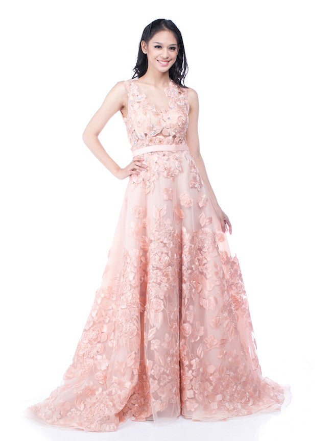 Yefta Gunawan - Buy: Peach Beaded Floral Gown-The Dresscodes - 1