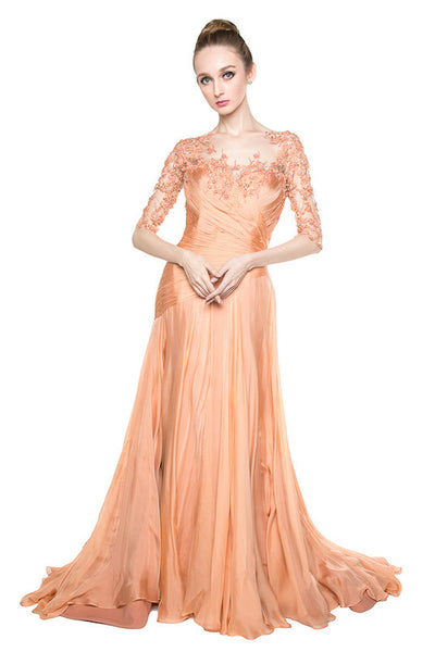 Yefta Gunawan - Buy: Peach Sleeved Silk Chiffon-The Dresscodes - 1