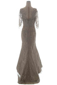 Rent: Yefta Gunawan - 3/4 Sleeves Dark Nude Beaded Gown
