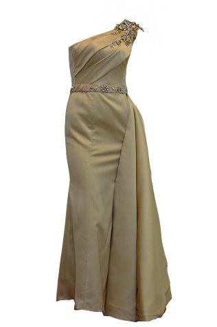 Rent: Yenty Tan Golden One Shoulder Gown