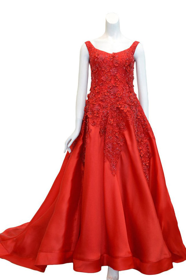 Rent: Yogie Pratama Red Sleeveless Floral A-Line Gown