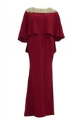 Rent: Yosep Sinudarsono - Maroon And Beads Gold Cape Sleeves Gown
