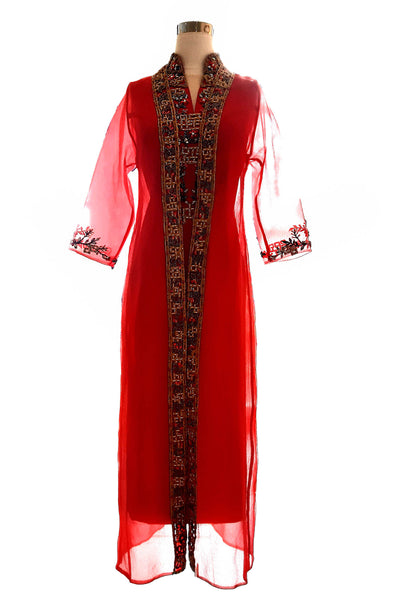 Rent : Yumi Katsura - Red Midi Cheongsam with Outer