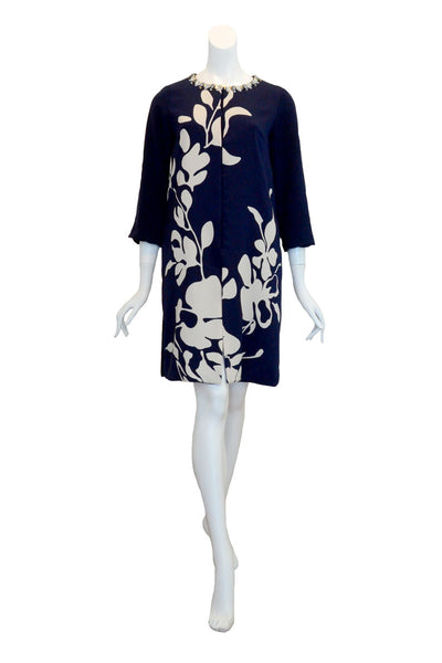 Rent: Studio 133 by Biyan Navy Blue Print Jacket Dress