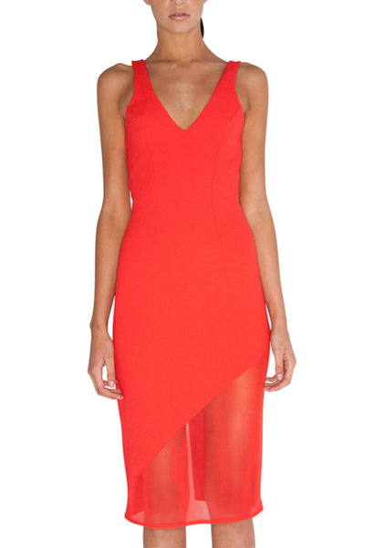 Rent: By Johnny V-Neck Angle Red Cocktail Dress