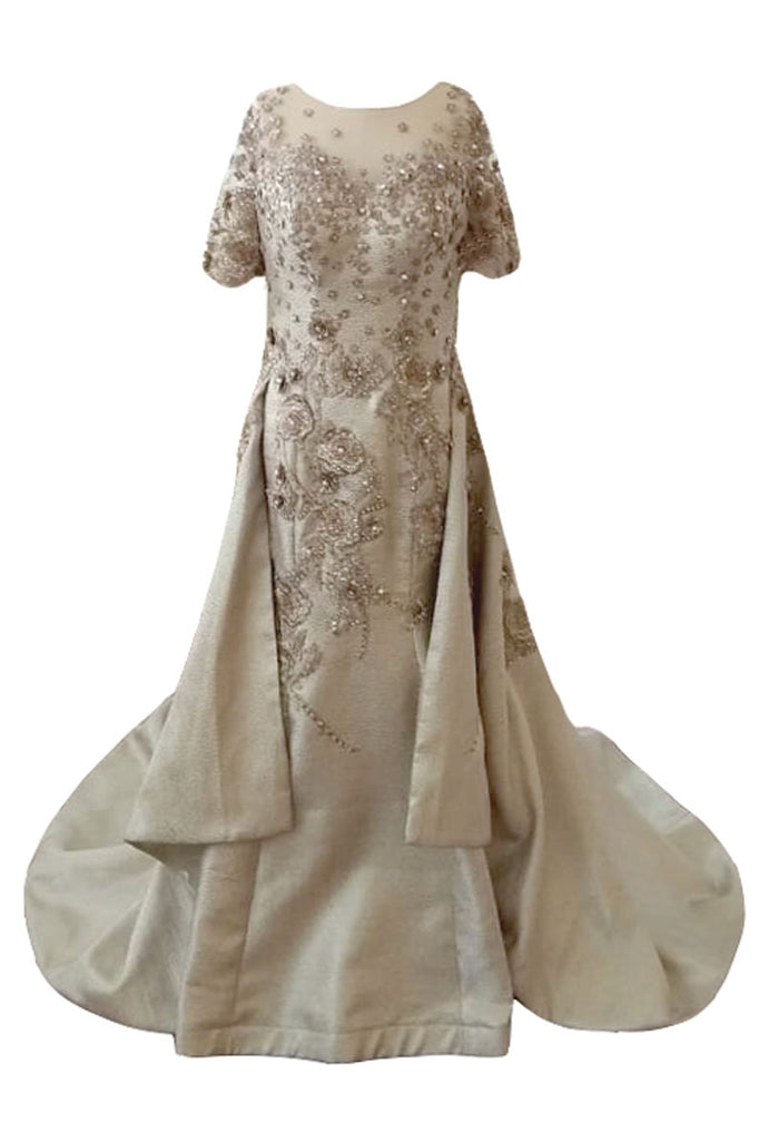 Sale: Cynthia Tan Gold Flower A-Line Gown