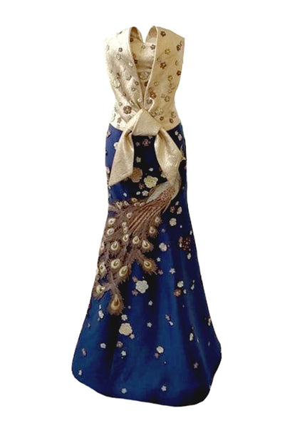 Sale: Cynthia Tan Gold Blue Sweetheart Peacock Gown