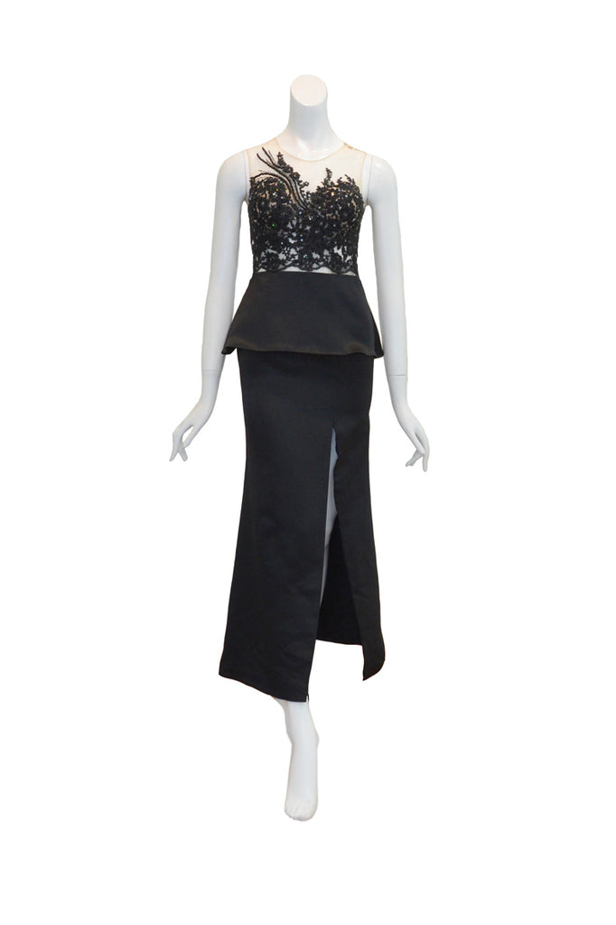 Sale: Gisela Privee Black Embellishment Satin with Slit Gown