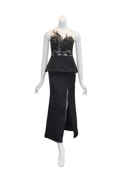 Rent: Gisela Privee Black Embellishment Satin with Slit Gown