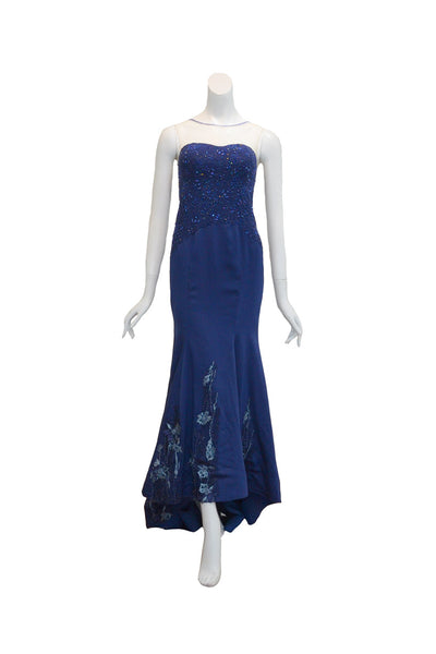 Rent: Gisela Privee Navy Blue Sleeveless Embroidery Beaded Gown