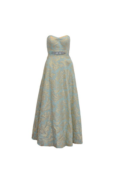 Rent: Gisela Privee Green Sweetheart Jacquard Gown
