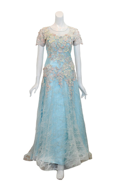 Rent: Hwie Hong -  Blue Floral Embellishment Gown