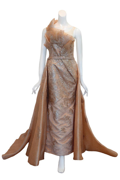 Rent: Shella Natasia Sleeveless Glitter A-Line Gown with Outer Skirt