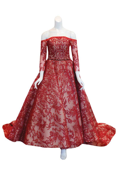 Rent: Monica Ivena - Red Off-Shoulder Long Sleeve Beaded Gown