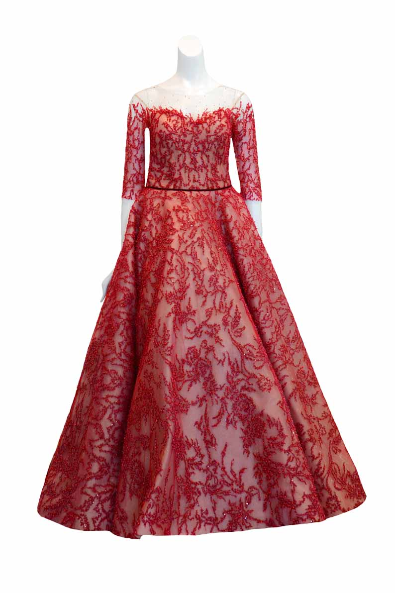 Buy: Monica Ivena - Red 3/4 Sleeve with Tulle Beaded Gown