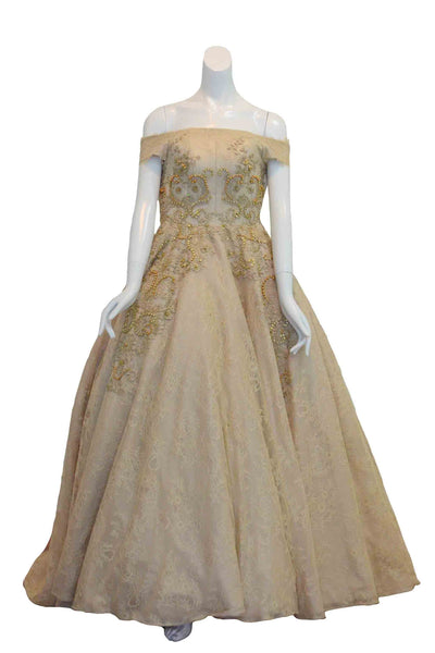 Rent: Monica Ivena - Gold Off Shoulder Embroidery Beaded Gown