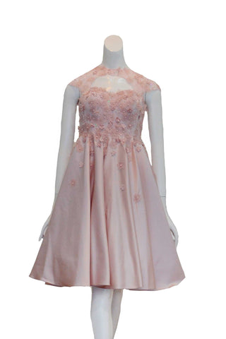 Rent: Monica Ivena - Pink Beaded with Tulle Midi Dress