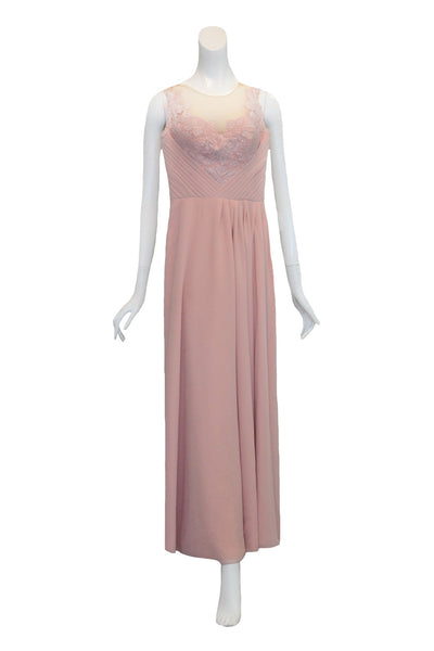 Rent: Seraglio Couture Pink Bridesmaids Embellishment Pleated Chiffon Dress