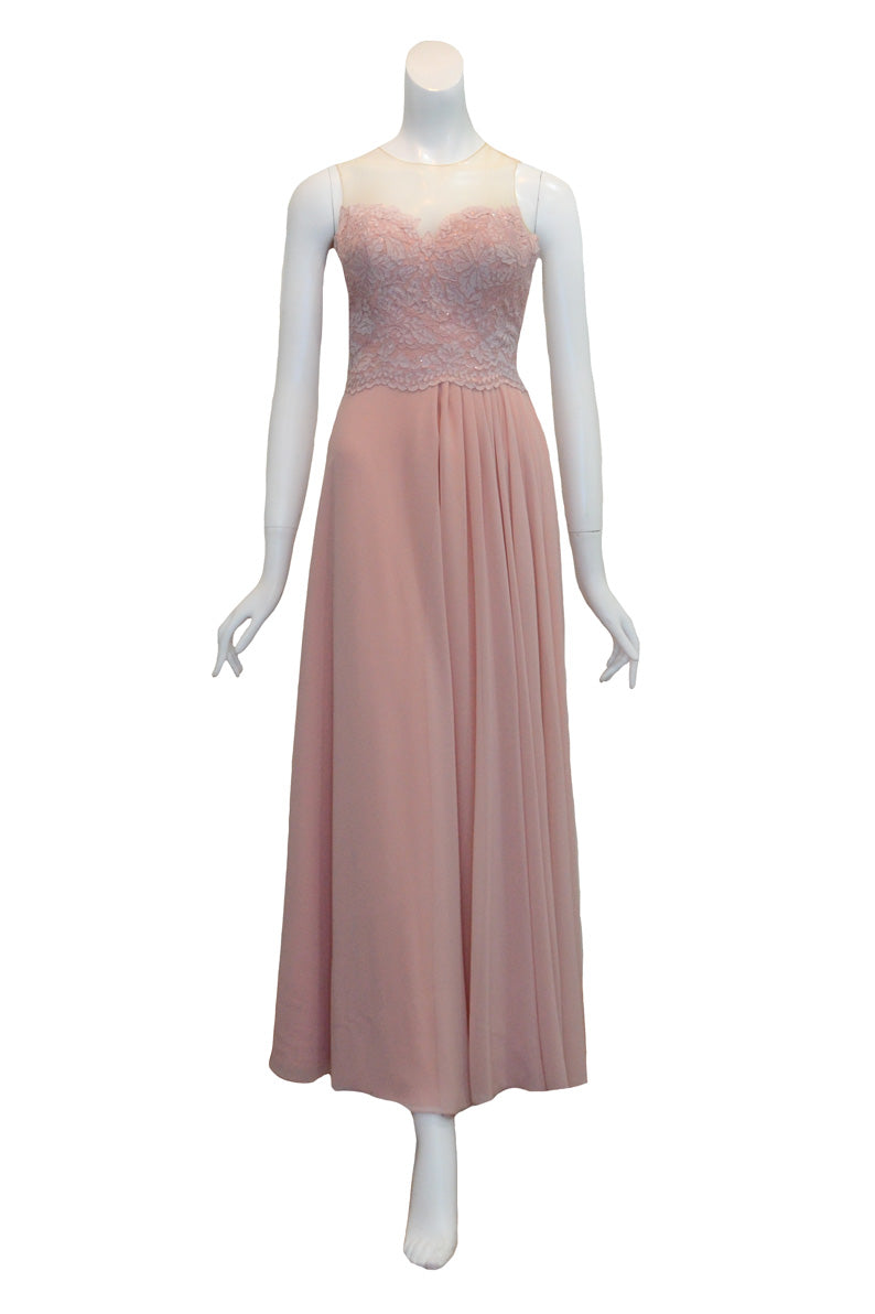 Rent: Seraglio Couture Pink Bridesmaids Sleeveless Glitter Chiffon Long Dress