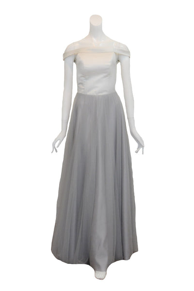 Rent: Private Label - White & Grey Off Shoulder Tulle Gown