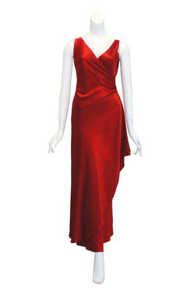 Rent: BCBGMaxazria Red V Neck Satin Long Dress